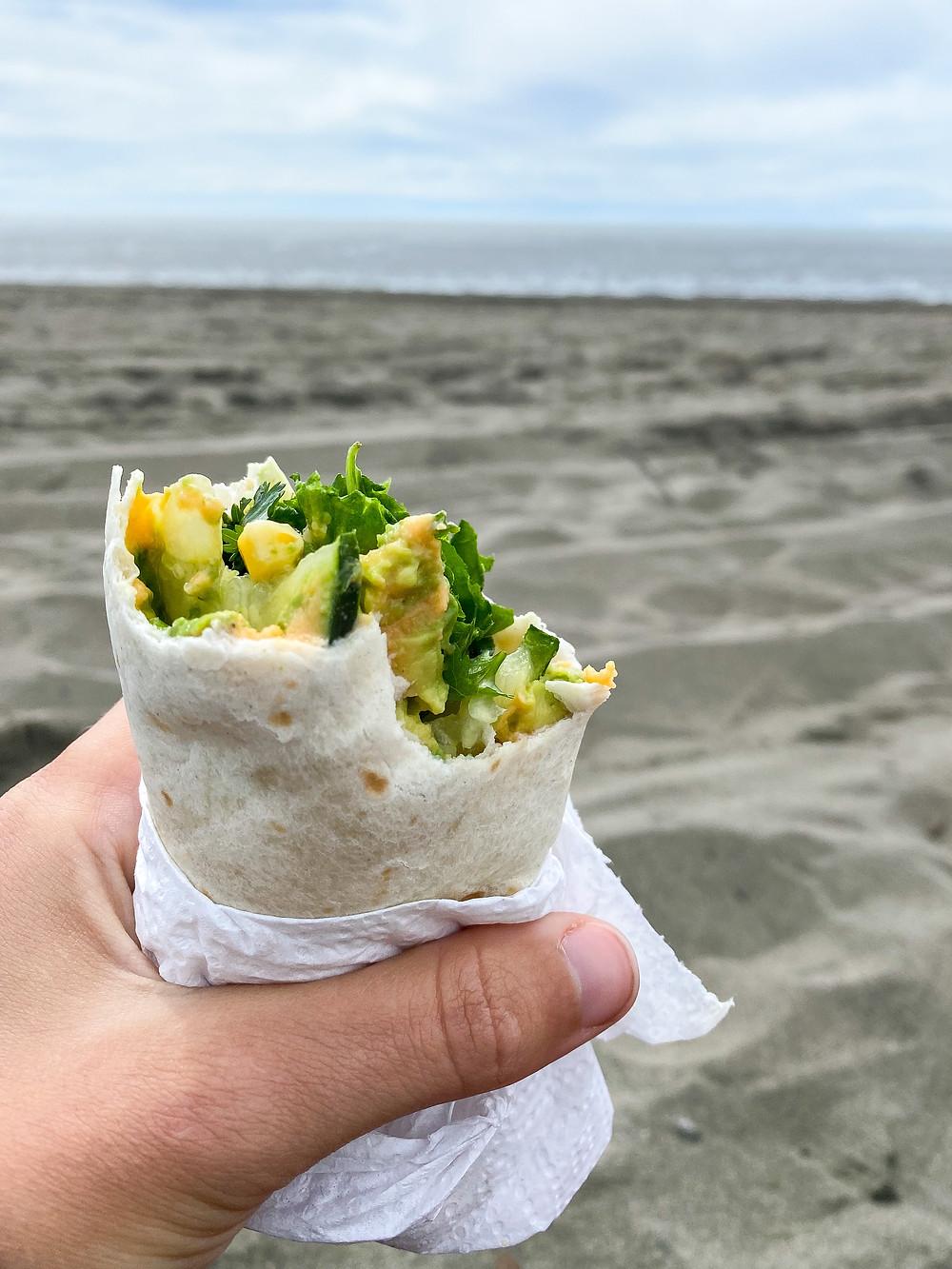 Pantry veggie wraps at the beach