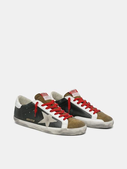 Sneakers Super-Star en cuir noir avec empiècement en daim Golden Goose