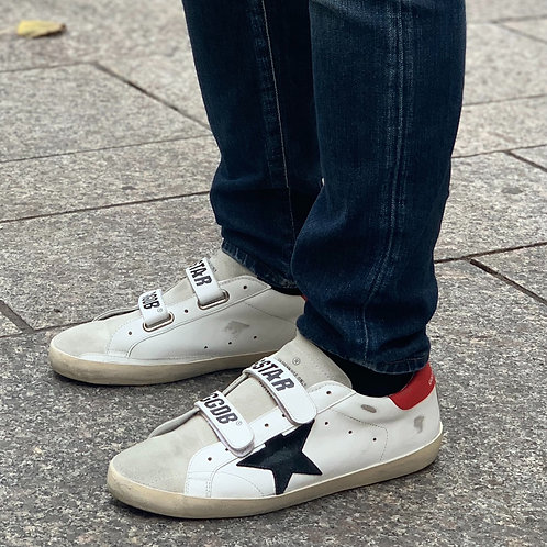 Old School Cuir Blanc Rouge Golden Goose