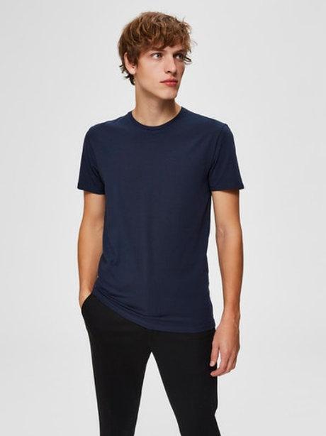 T-Shirt bleu marine Selected