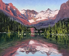 Purple landscape painting mountains with reflections in the water.