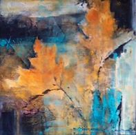 Marla Blackwell's abstract painting of yellow leaves.