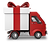 Truck delivering a gift icon.