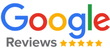 Google reviews logo with five gold stars.