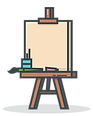 Art Easel With Canvas On Top
