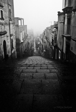 Caltagirone Sicily in the fog