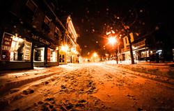 Snowy night on Thames St. Newport RI