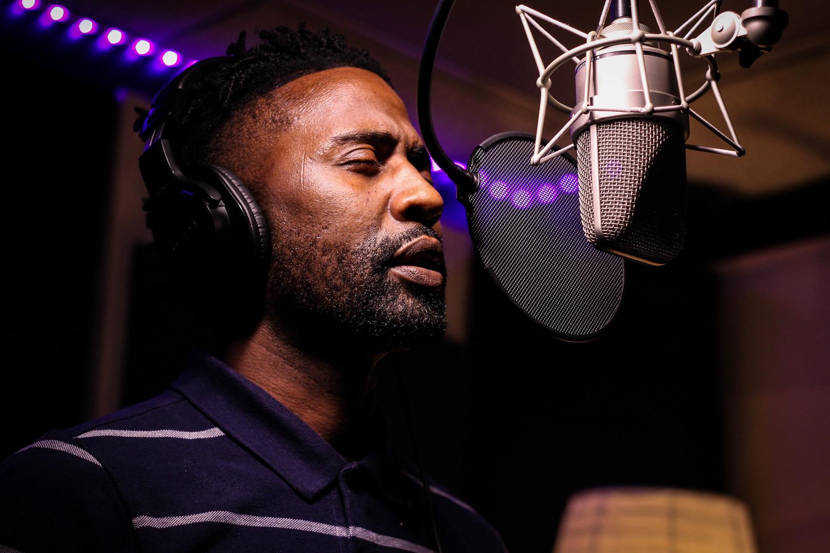 Rap Artist Ron G at recording at Skymoun