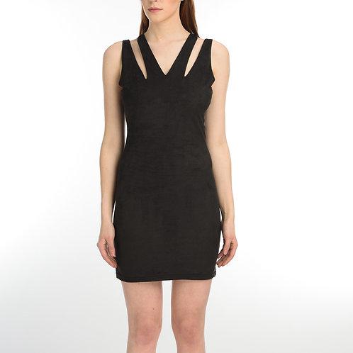 Black Suede Sleeveless Dress