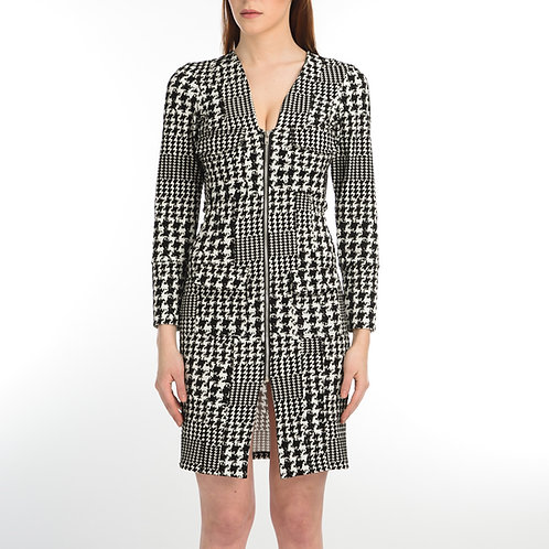 Scuba Pattern Zipped Dress