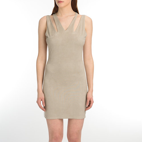 Beige Suede Sleeveless Dress