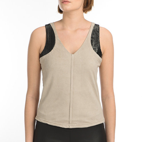 Leather and Suede Top