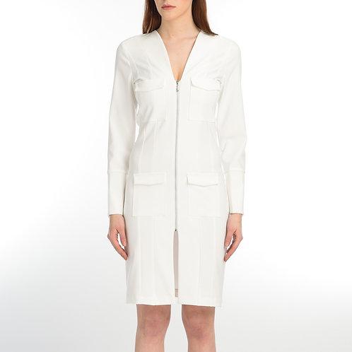White Zipped Dress