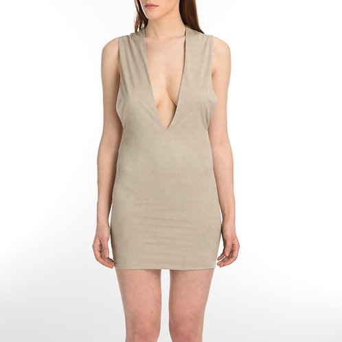 Beige Suede Cleavage Dress