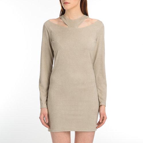 Suede Long Sleeve Dress