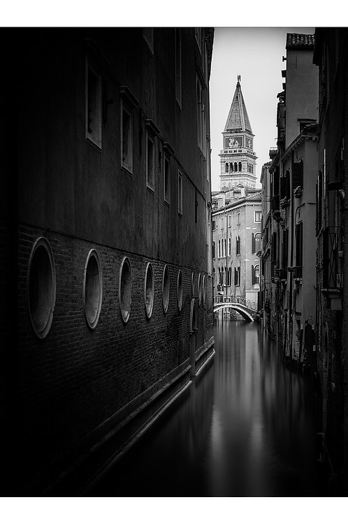 A black and white print for sale of Venice in the Rain, Venice Italy by travel and fine art photographer Murray Sye
