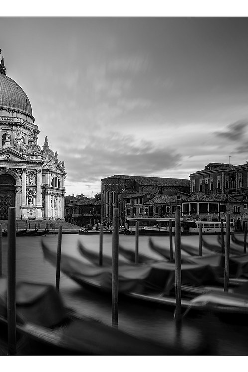 A black and white print for sale of Cathedral Santa Maria, Venice Italy by travel and fine art photographer Murray Sye