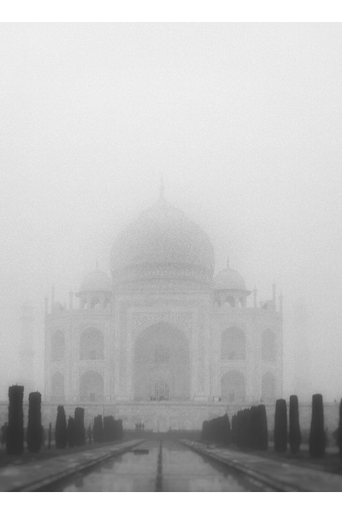 A black and white print for sale of Taj Mahal, Agra India by travel and fine art photographer Murray Sye