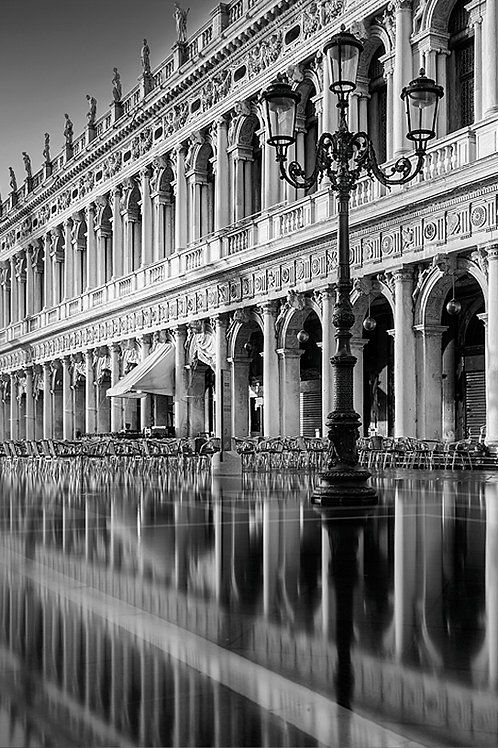 A black and white print for sale of Piazza San Marco, Venice Italy by travel and fine art photographer Murray Sye