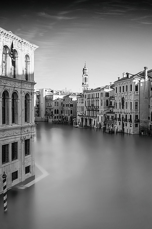 A black and white print for sale of Rialto Bridge, Venice Italy by travel and fine art photographer Murray Sye
