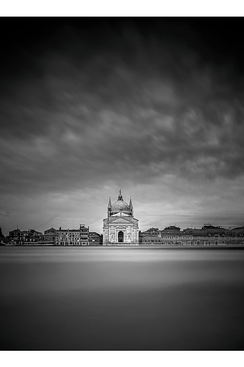 A black and white print for sale of San Giorgio Maggiore, Venice Italy by travel and fine art photographer Murray Sye