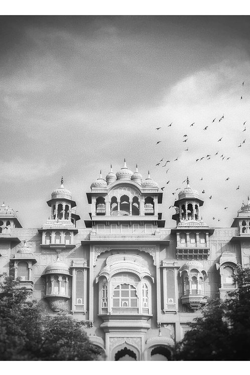A black and white print for sale of Patrika Gate in Jaipur India by travel and fine art photographer Murray Sye