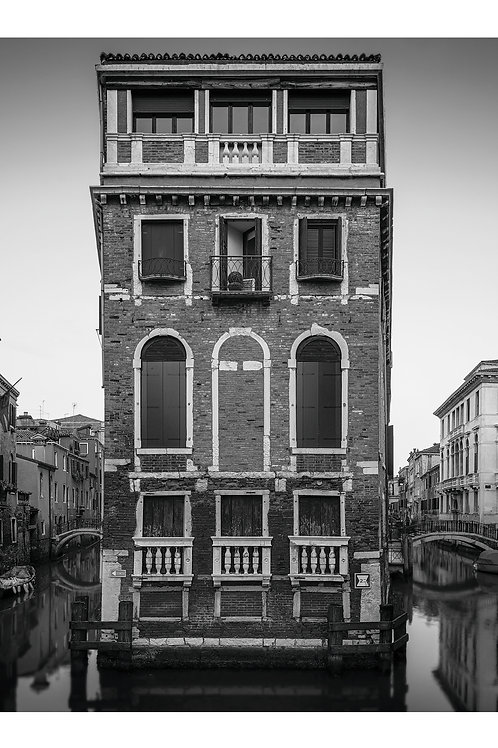 A black and white print for sale of Palazza di Tetta, Venice Italy by travel and fine art photographer Murray Sye