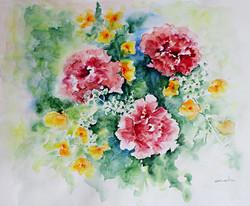 Aquarelle fleurs roses et jaunes 45x50