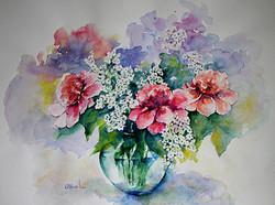 Aquarelle 45x60 Fleurs roses