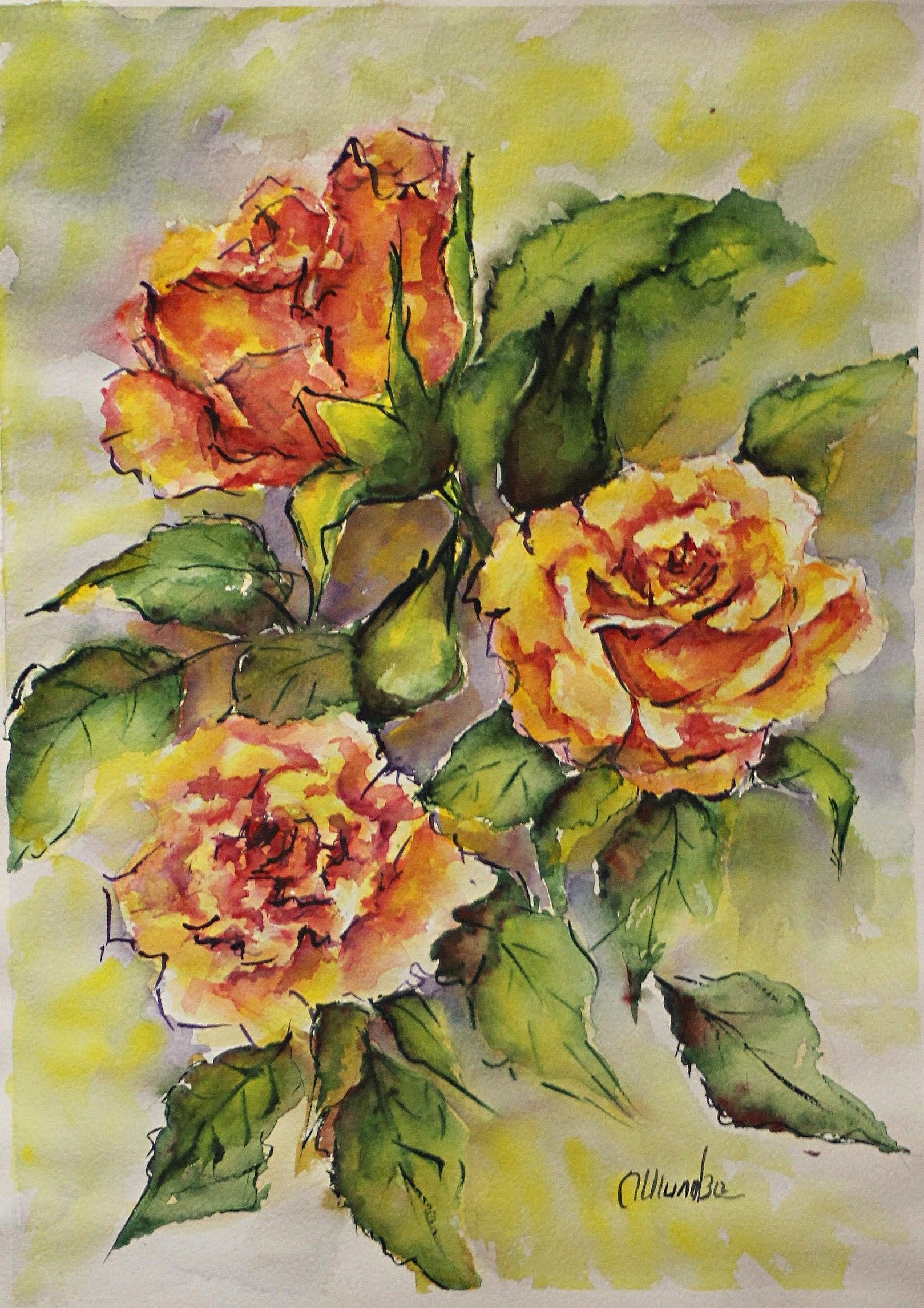 Aquarelles roses III 40x30