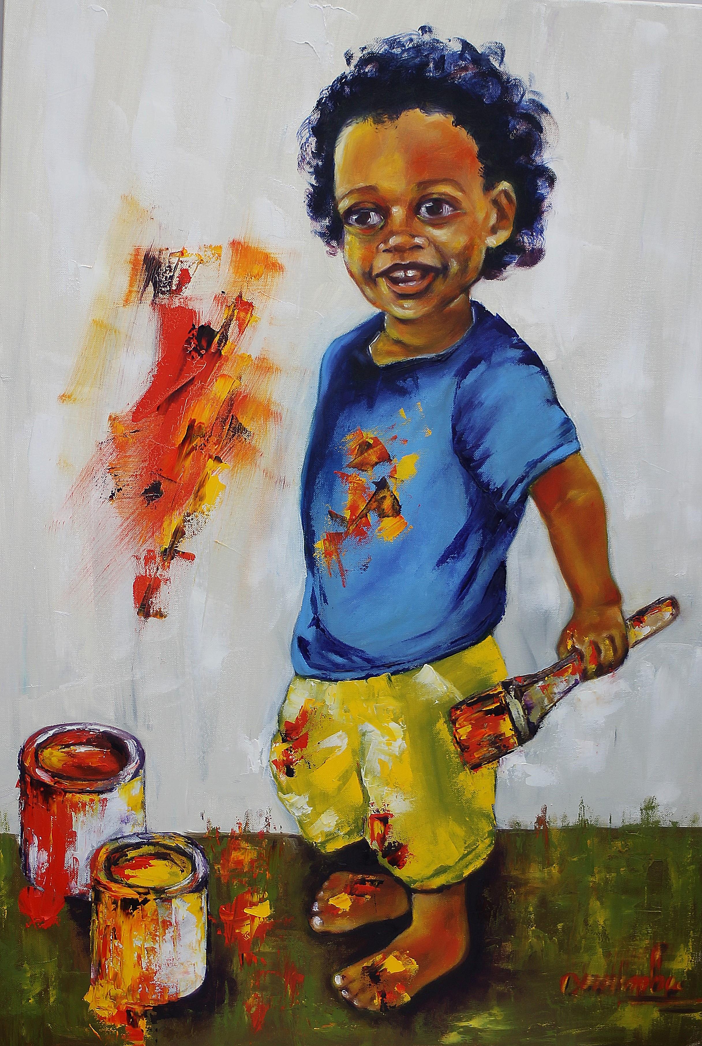 Artiste en herbe Huile sur toile 90x65