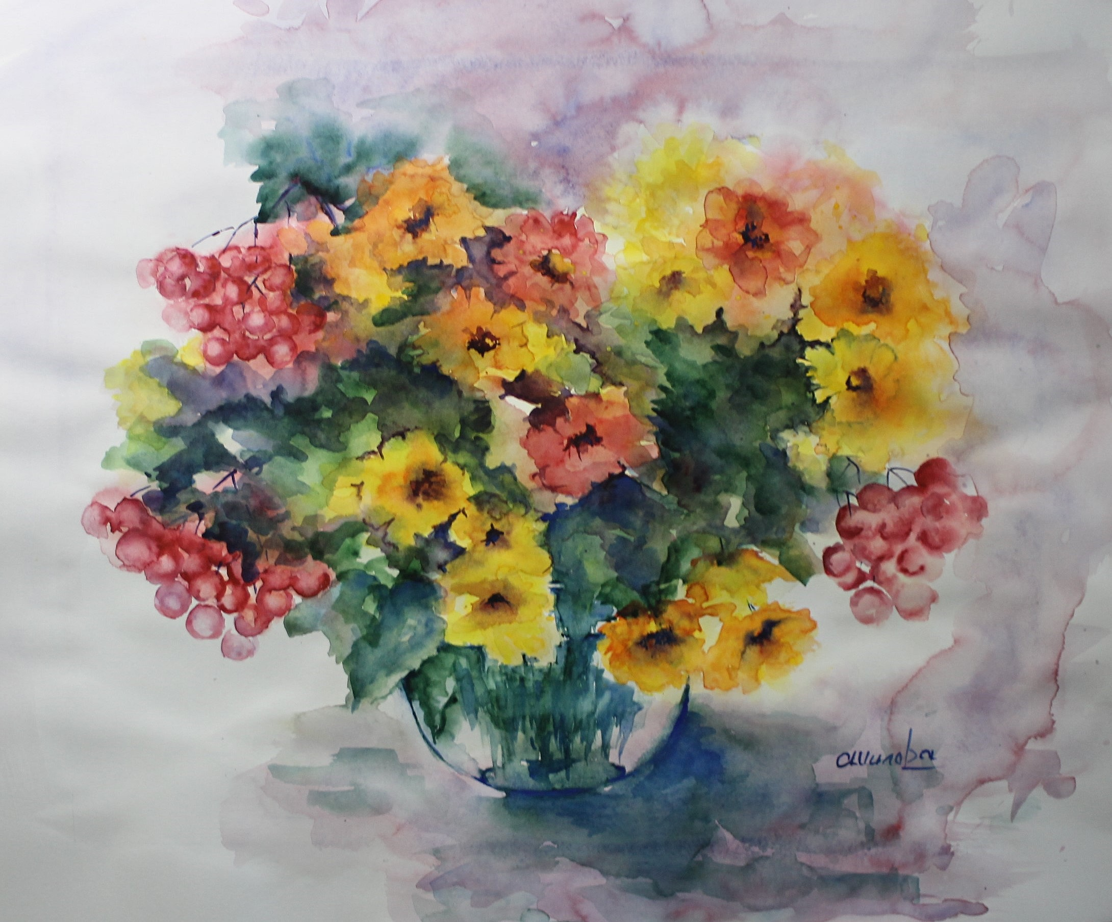 Aquarelle Bouquet coloré 50x60 (2)