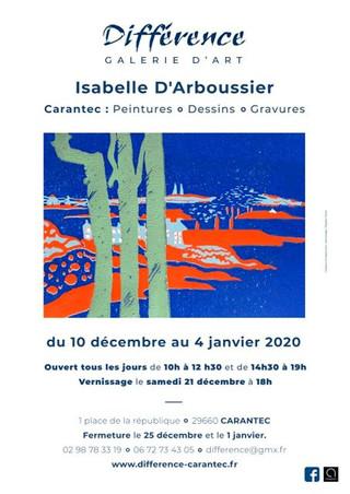 à Carantec - Exposition de peintures, dessins et gravures - du 10 décembre 2019 au 4 janvier 2020