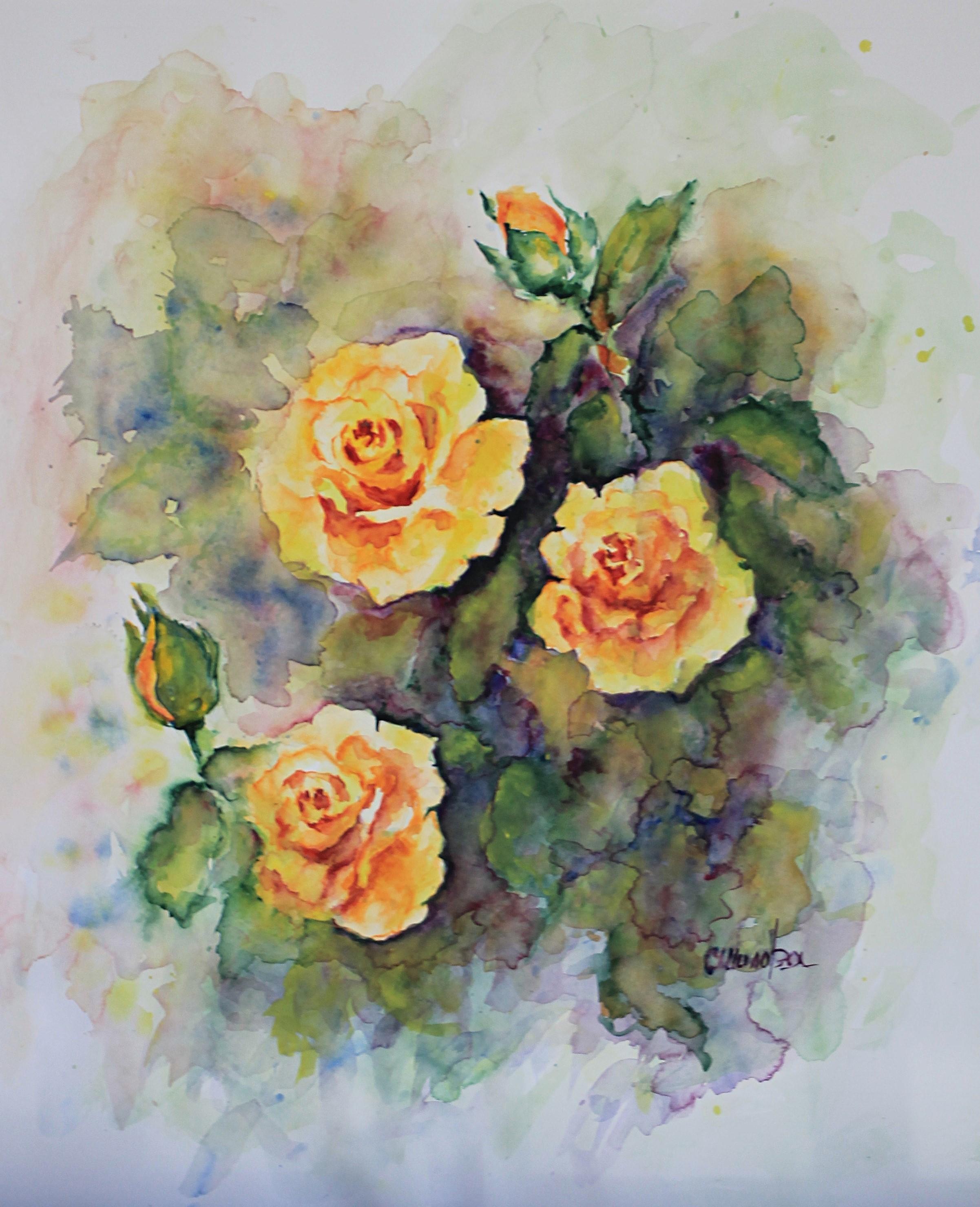 trois roses jaune aquarelle 60x50