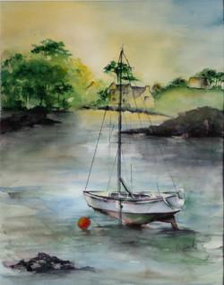Bateau à marée basse aquarelle 70x50