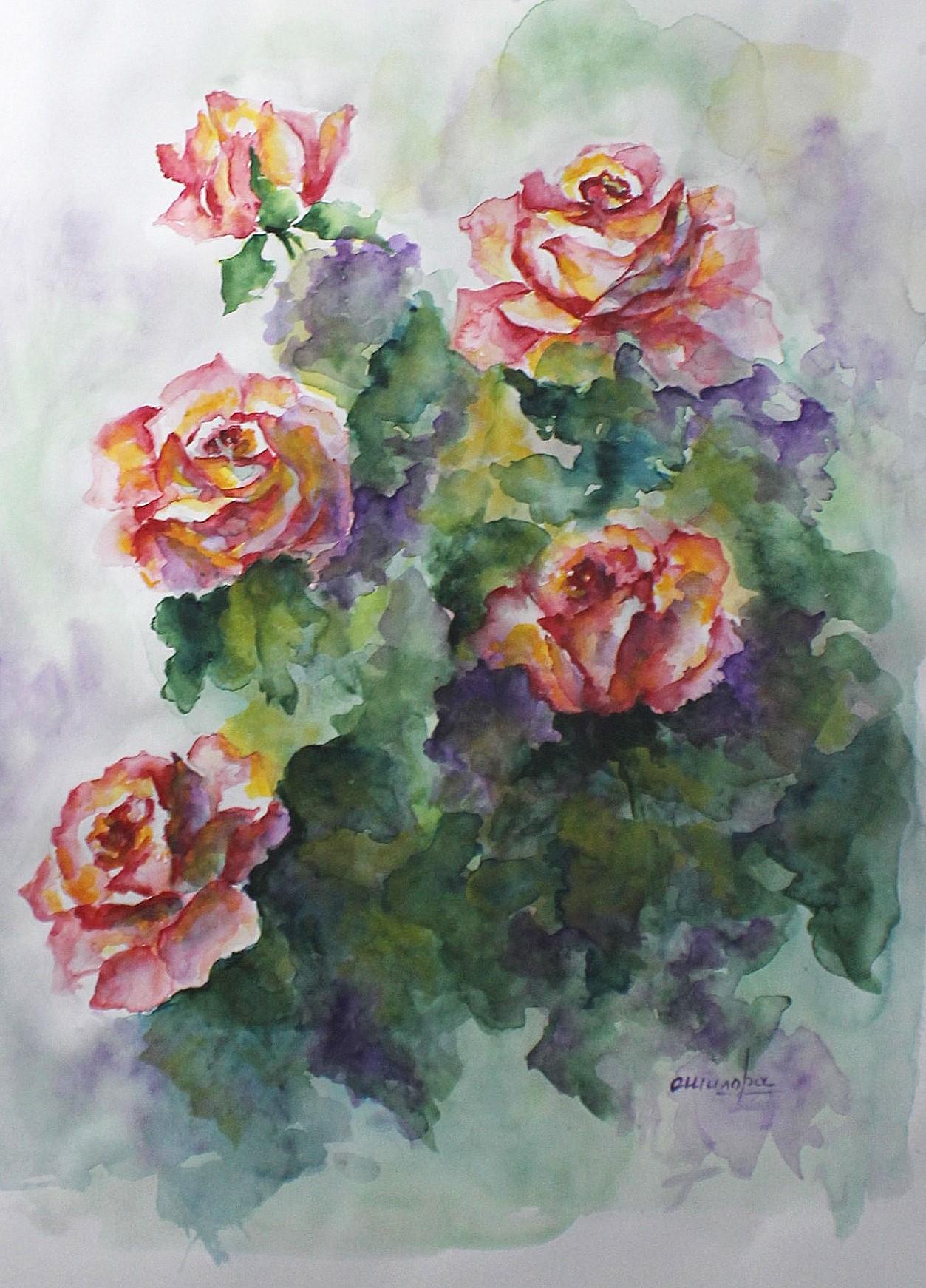 Aquarelle 60x50 5 roses