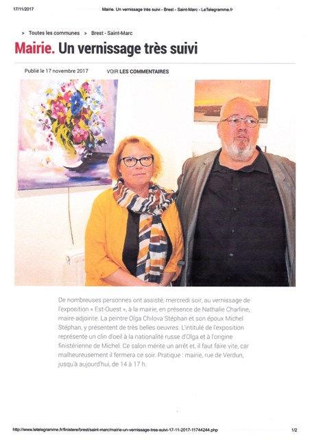 Olga et Michel STEPHAN exposent à la Mairie de Brest Saint Marc