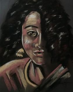 Femme noire dans l'ombre pastel