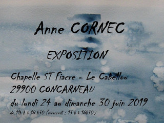 à Concarneau - Exposition de Peintures - Chapelle Saint-Fiacre- du 24 au 30 juin 2019