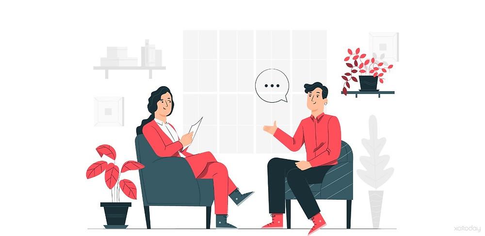 HR professional listening to man