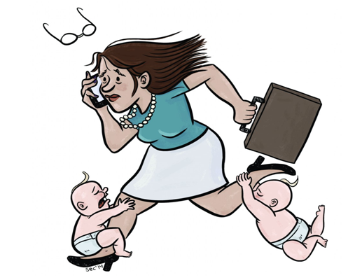 working woman cartoon with baby