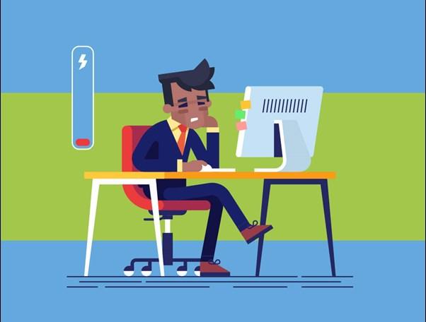 Tired corporate man cartoon