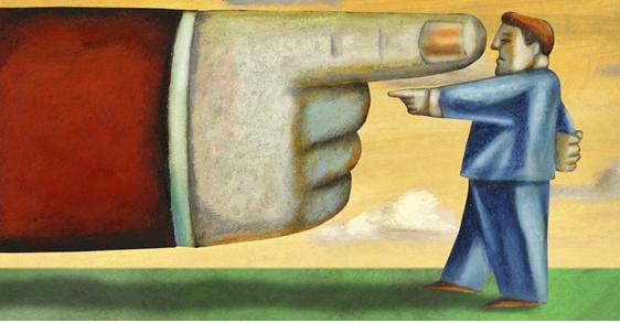 man challenging big finger cartoon