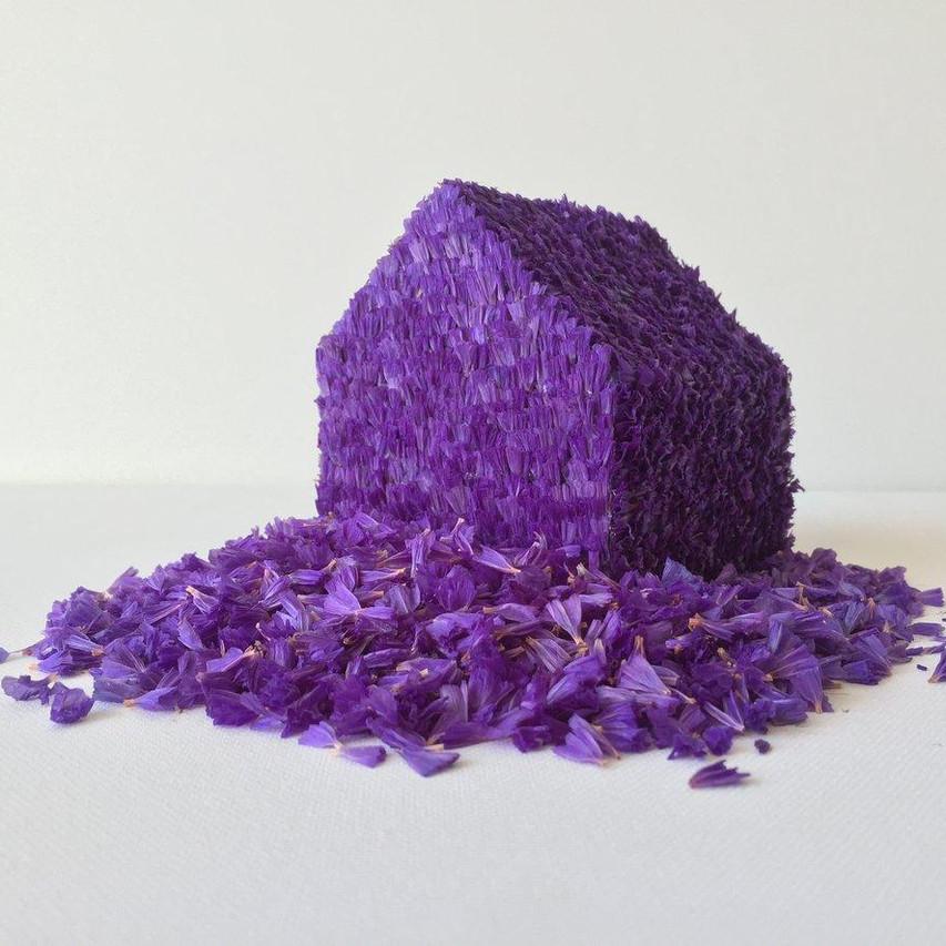 """Camila Salame, """"Immortelle (Siempreviva)"""", 2015, Pétales de statice et bois, H.10 x L.14 x P.12cm"""