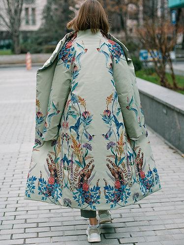 Пальто зимнее фисташковое