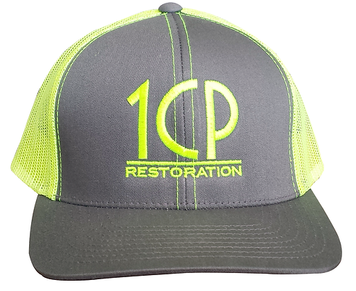 1CP Trucker Hat, Yellow & Gray, Adjustable