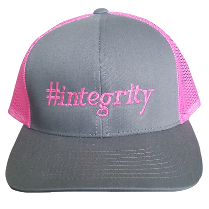 #integrity Trucker Hat, Pink & Gray,  Adjustable
