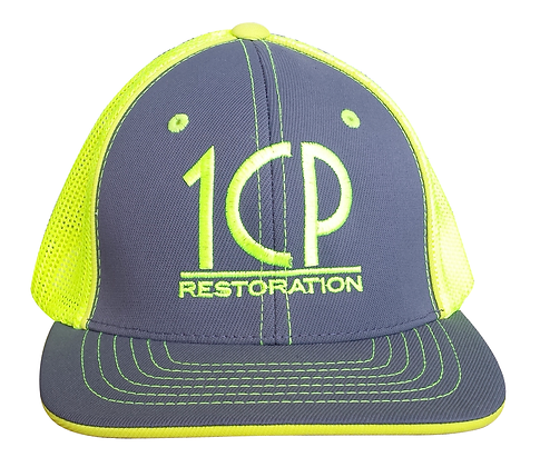 1CP Trucker Hat, Yellow & Gray, Fitted