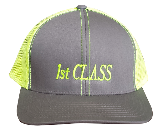 1st CLASS Trucker Hat, Yellow & Gray, Adjustable