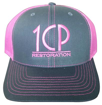 1CP Trucker Hat, Pink & Gray, Adjustable